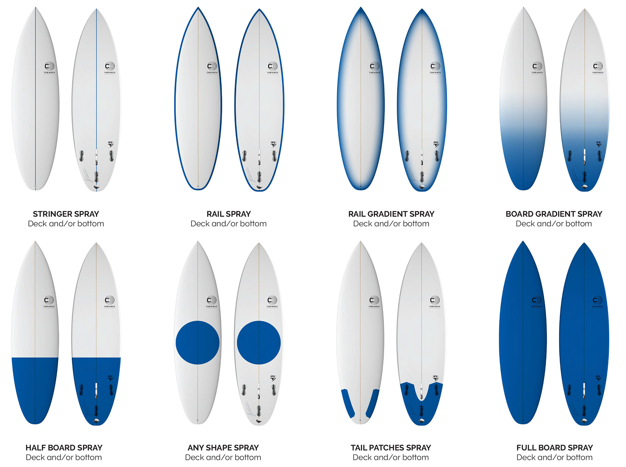 Cabianca Surfboards Spray Options