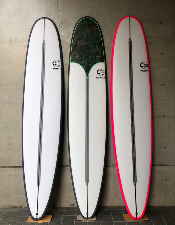 Cabianca Surfboards Slimmer Black Pink Rails Longboard EPS/Epoxy PU/Polyster Inlay