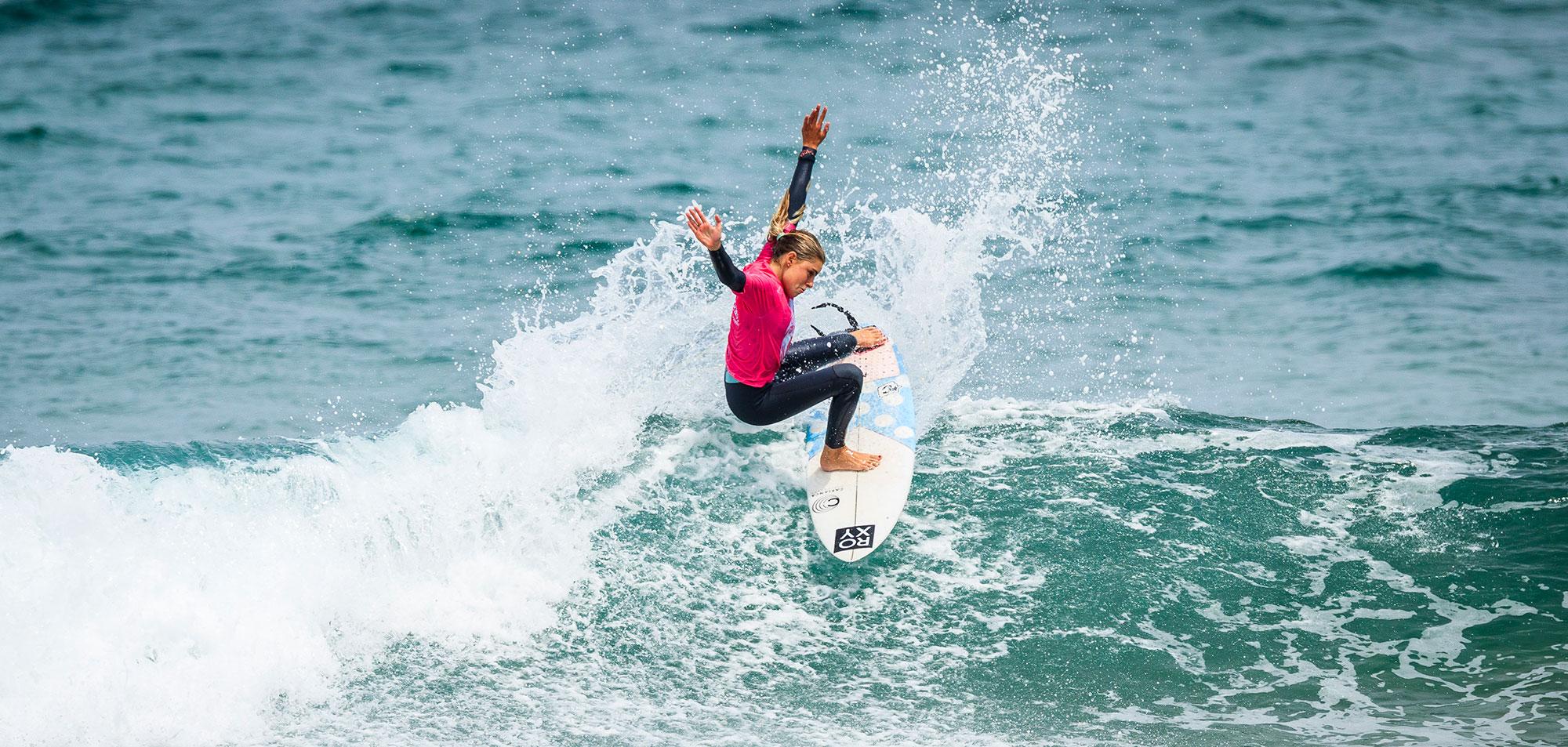 Janire Gonzalez Etxabarri on a Cabianca Surfboard